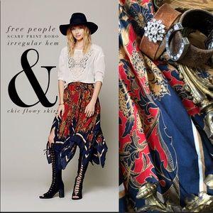 Free People irregular hem boho print flowy skirt